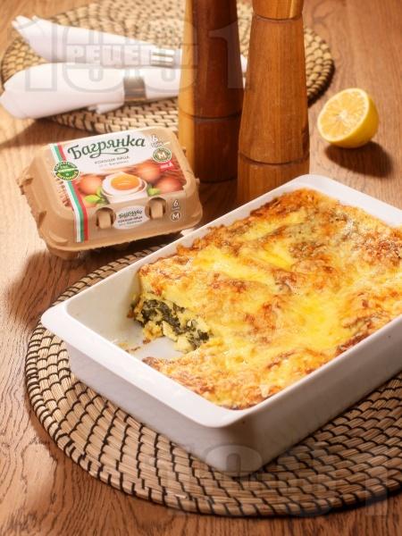 Зелена лазаня със спанак, сирене, извара и яйца Багрянка - снимка на рецептата